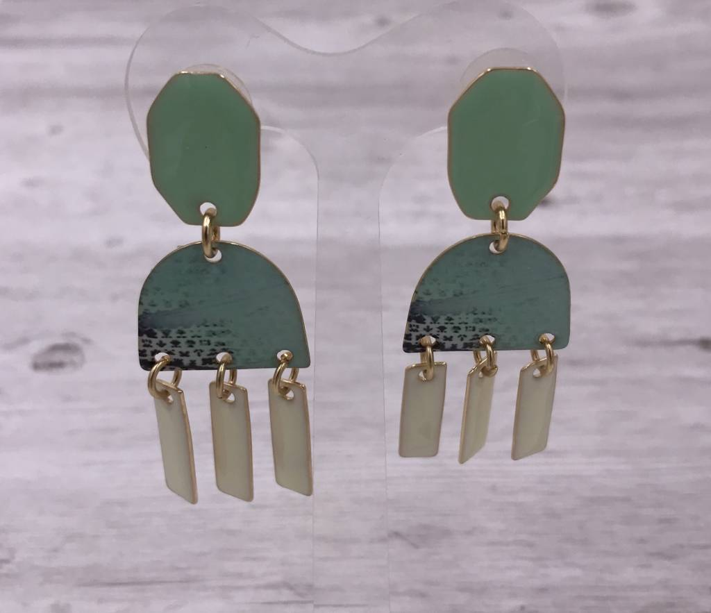 Gold, Turquoise, and White Dangling Trendy Earrings