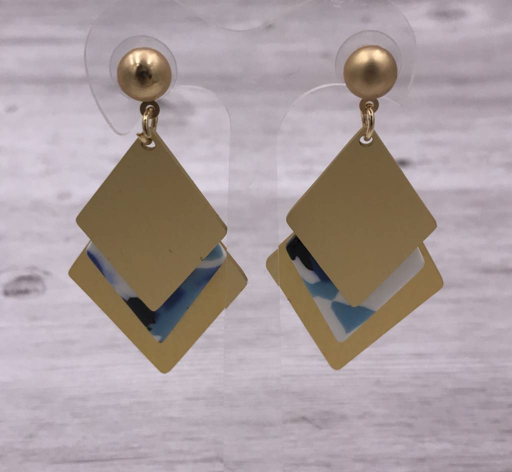 Layered Gold and Blue Acetate Diamond Shaped Earrings