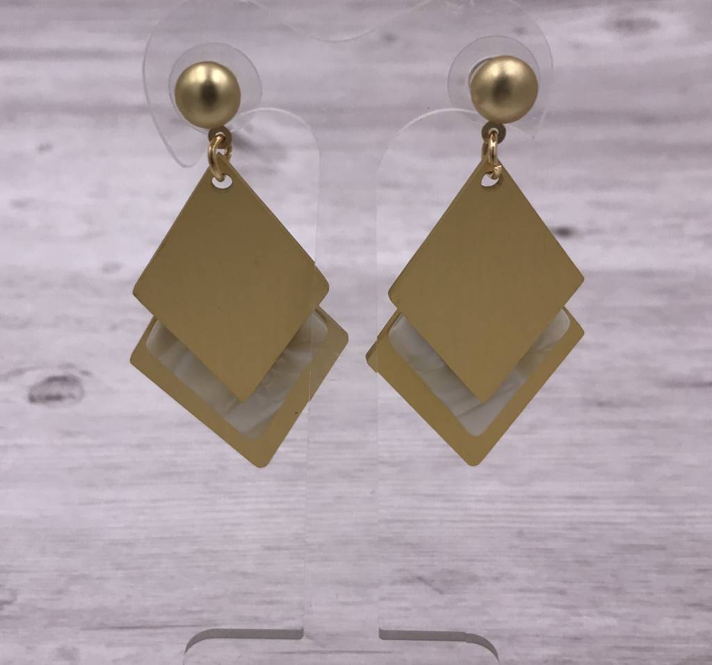Layered Gold and White Acetate Diamond Shaped Earrings