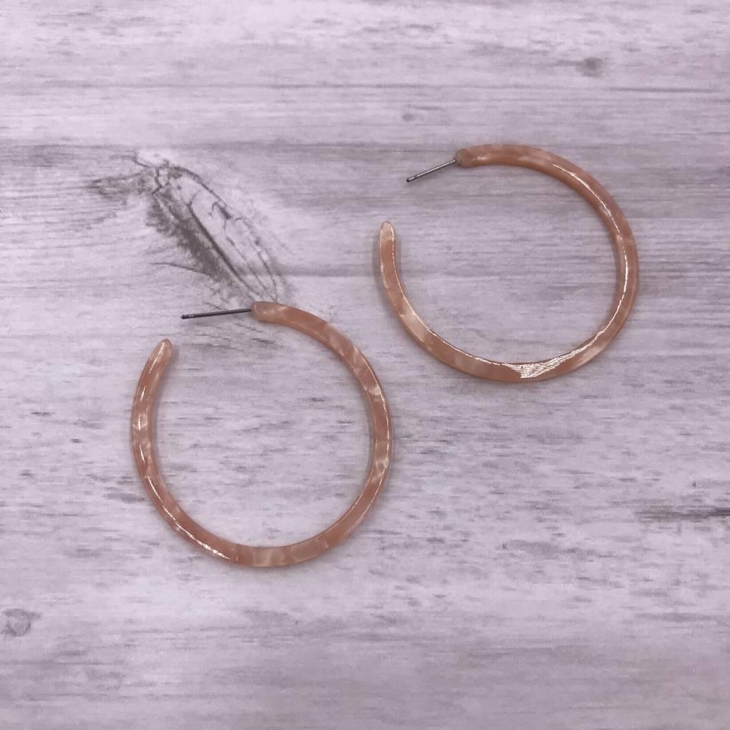 Thin Pink Hoop Acetate Earrings