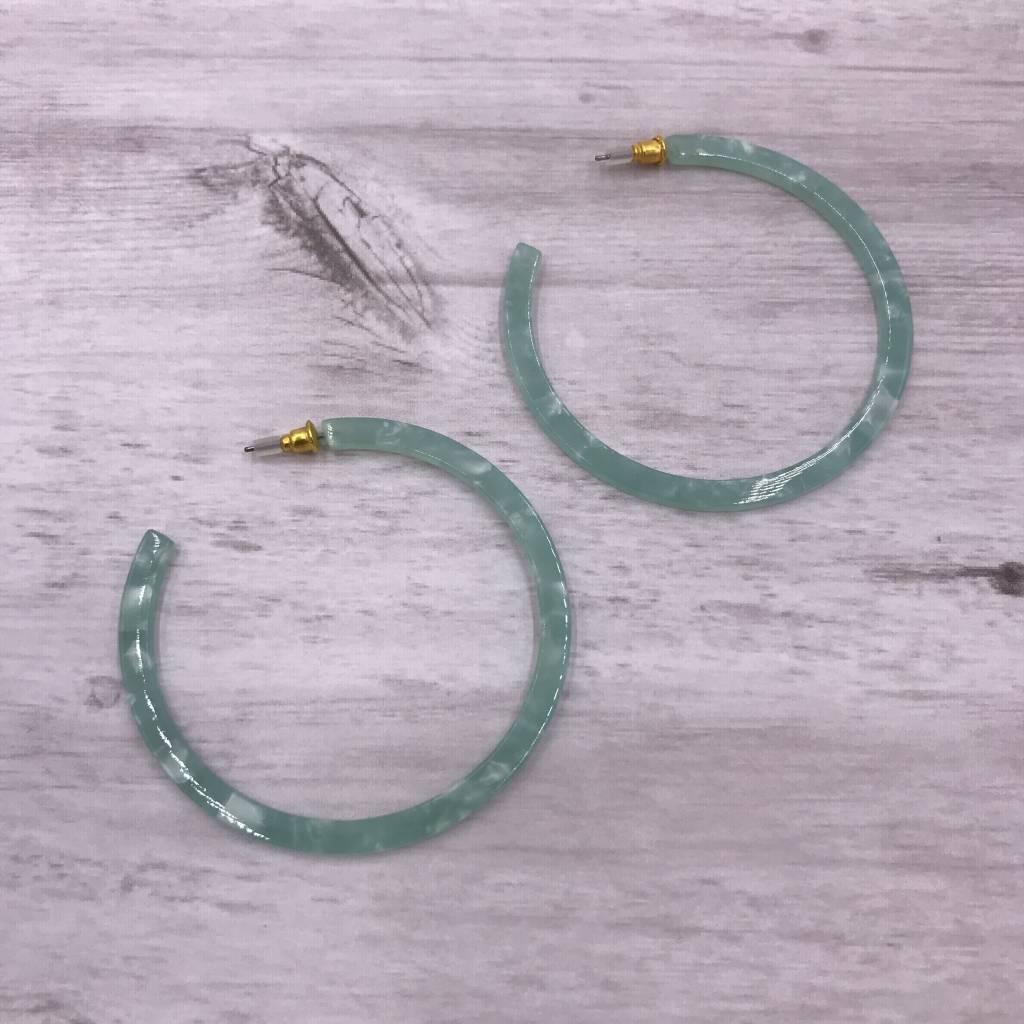 Mint Hoop Acetate Earrings
