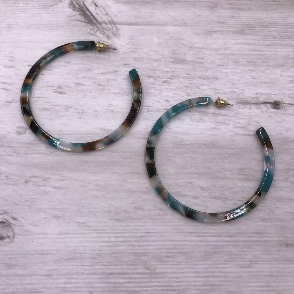 Blue Multi-Colored Hoop Acetate Earrings