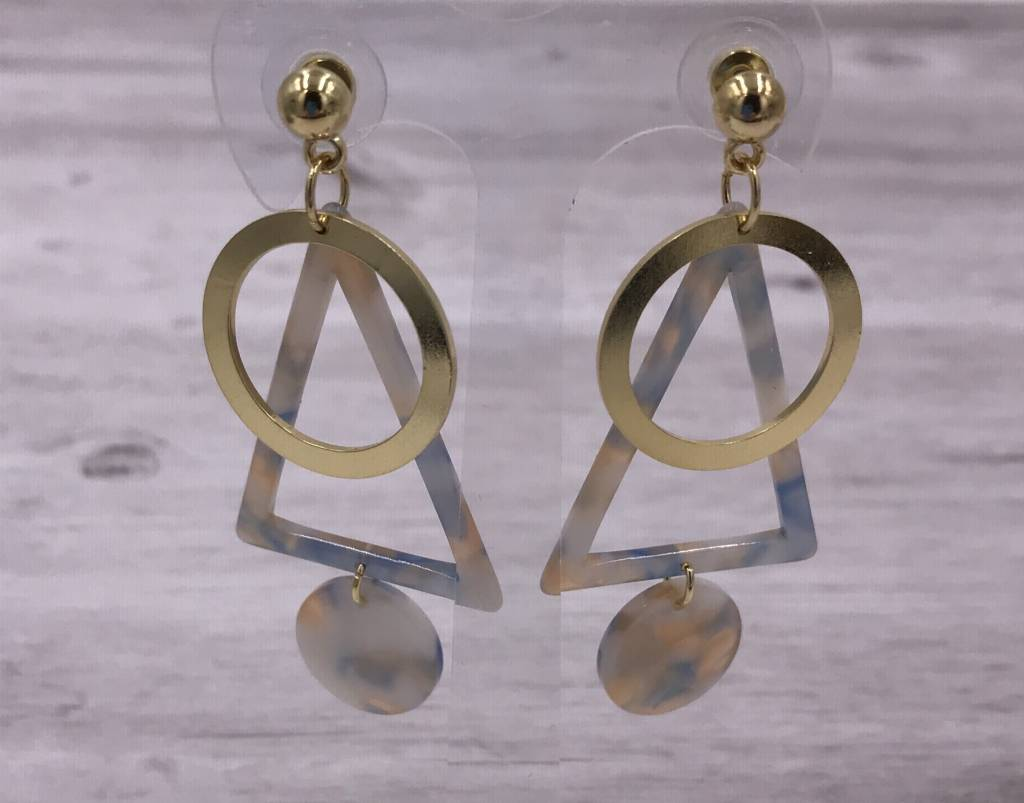 Gold and Blue Acetate Triangle and Circle Earrings