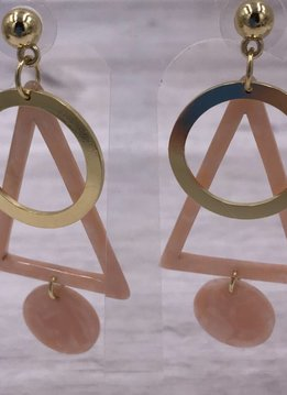 Gold and Pink Acetate Triangle and Circle Earrings