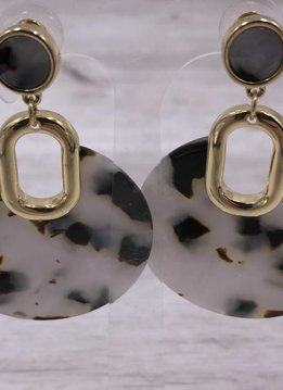 Gold with Black and White Acetate Round Dangle Earrings