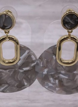 Gold with Gray Acetate Round Dangle Earrings