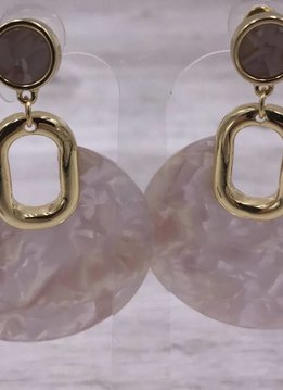 Gold with Pink Acetate Round Dangle Earrings