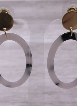 Gold with Brown and White Acetate Oval Dangle Earrings