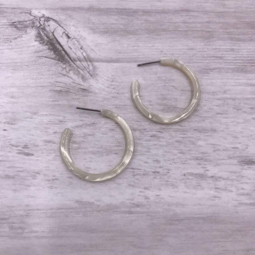 Thin Mini White Acetate Hoop Earrings