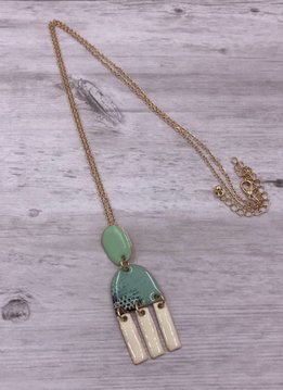 Gold, Turquoise, and White Dangling Pendant on Long Necklace
