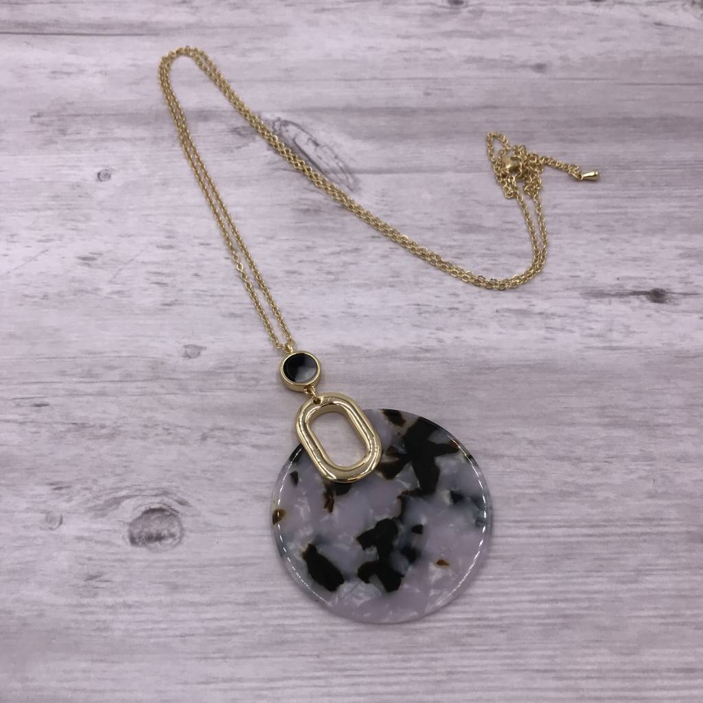 Gold Long Necklace with Black and White Round Acetate Pendant