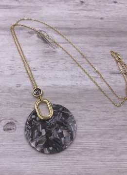 Gold Long Necklace with Gray Round Acetate Pendant