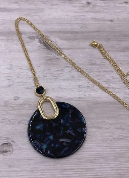 Gold Long Necklace with Dark Blue Round Acetate Pendant