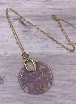 Gold Long Necklace with Pink Round Acetate Pendant