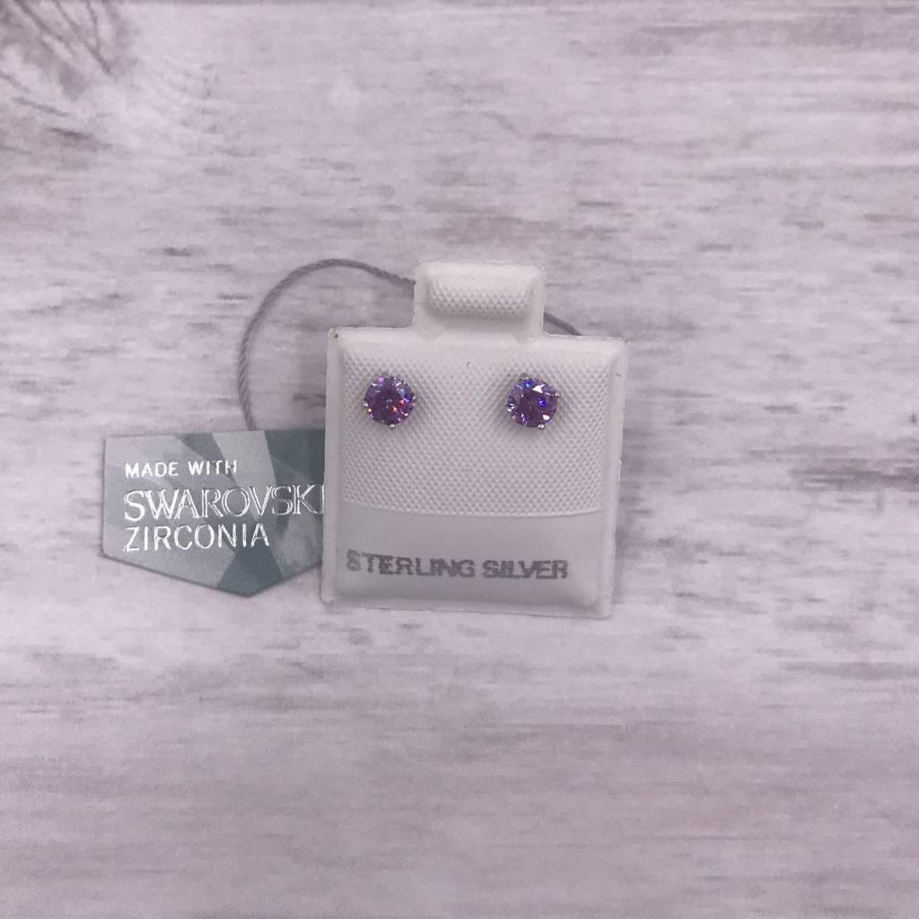 Qualita in Argento Italian Sterling Silver Amethyst 3mm Swarovski Studs