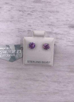 Qualita in Argento Italian Sterling Silver Amethyst 5mm Swarovski Studs