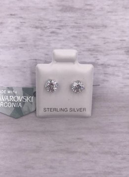 Qualita in Argento Italian Sterling Clear 5mm Swarovski Studs