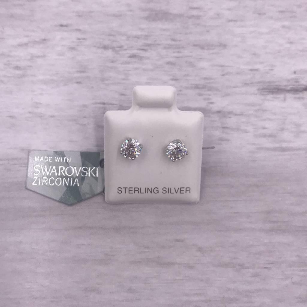 Qualita in Argento Italian Sterling Clear 5mm Swarovski Studs