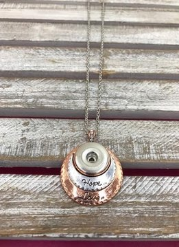 Silver and Rose Gold Inspirational Snap Necklace