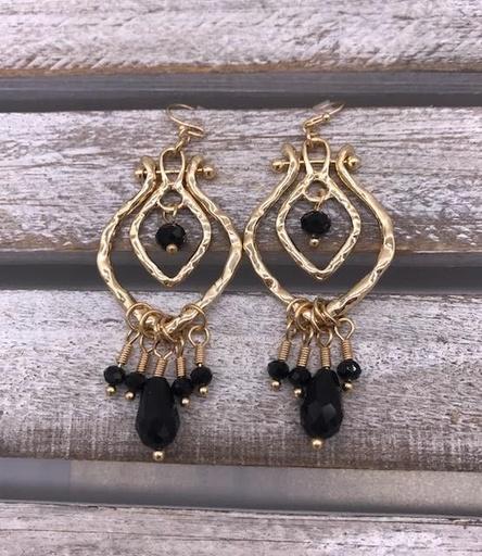 Black Stone Gold Chandelier Earrings