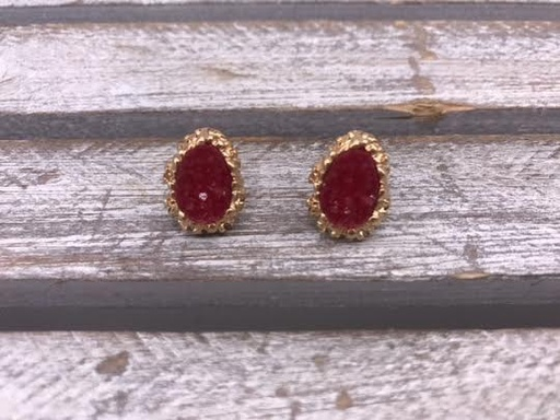 Gold and Red Druzy Stud Earrings