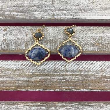 Gold Dangling Earrings with Blue Stones