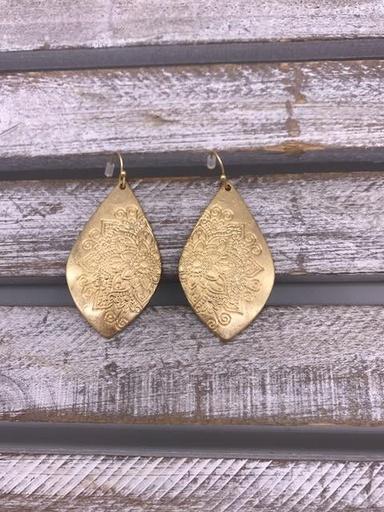Gold Flower Detailed Earrings