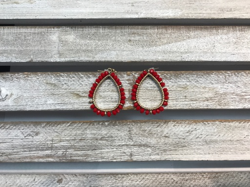 Red Beaded Gold Tear Drop Earrings