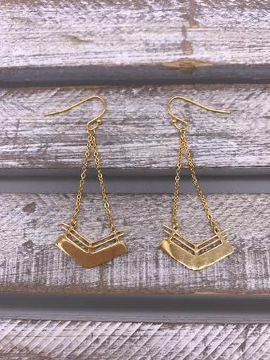 Stainless Steel Gold Geometric Chevron Dangle Earrings