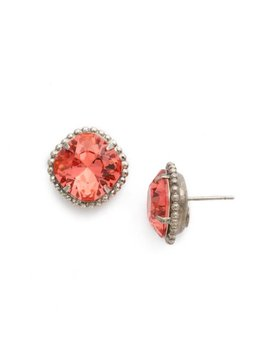 Cushion-Cut Solitaire Antique Silver Earrings in Coral