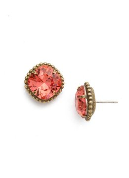 Cushion-Cut Solitaire Antique Gold Earrings in Coral