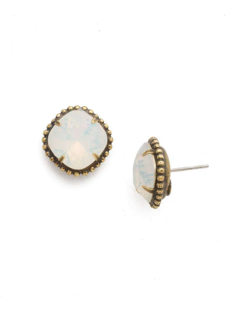 Cushion-Cut Solitaire Antique Gold Earrings in White Opal