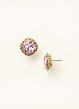 Cushion-Cut Solitaire Antique Gold Earrings in Light Rose