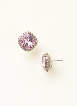 Sorrelli Cushion-Cut Solitaire Antique Silver Earrings in Light Rose