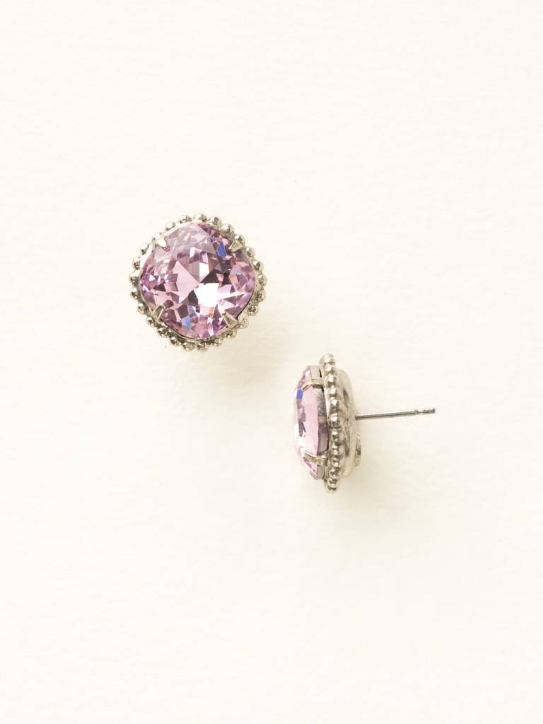 Cushion-Cut Solitaire Antique Silver Earrings in Light Rose
