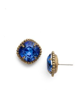 Sorrelli Antique Gold Cushion-Cut Solitaire Earrings in Sapphire