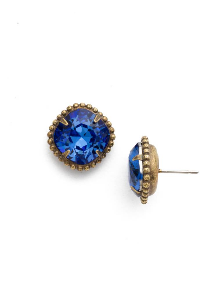 Cushion-Cut Solitaire Antique Gold Earrings in Sapphire