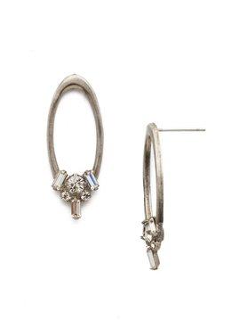 Crystal Cluster Silver Hoop Earrings