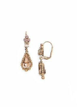 Sorrelli Opulent Teardrop French Wire Antique Gold Earrings in Rustic Bloom
