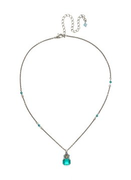 Sorrelli Crowning Glory Silver Pendant Necklace in Sweet Mint