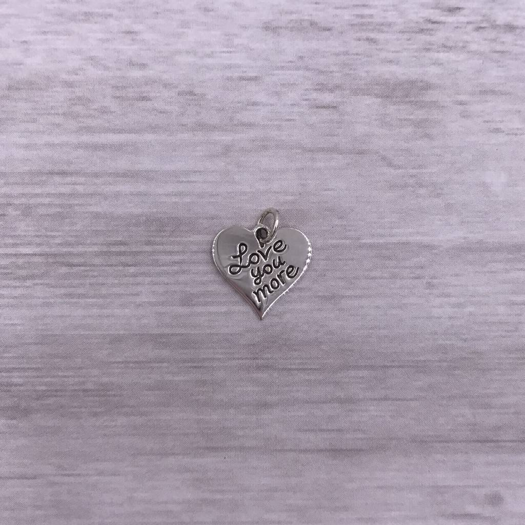 """Sterling Silver """"Love You More"""" Heart Charm"""