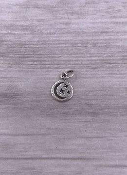 Sterling Silver Round Charm with Moon and Stars