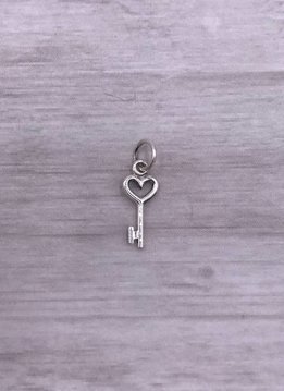 Sterling Charm Heart Key
