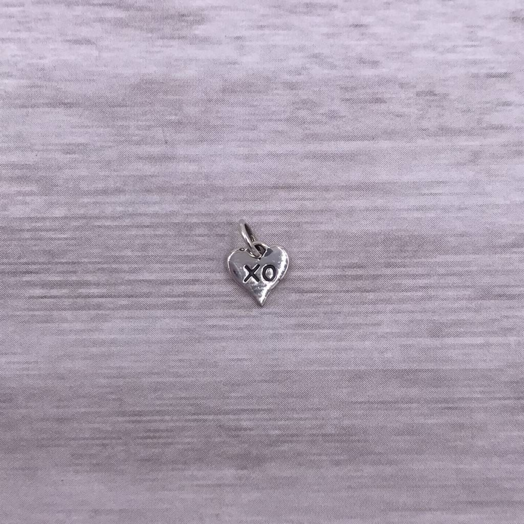 Sterling Silver XO Hug and Kiss Heart Charm