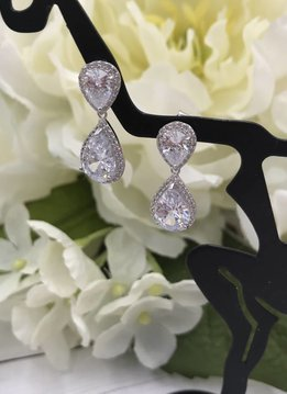 Italian Sterling Silver Cubic Zircoia Teardrop Earrings