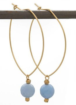 Lenny & Eva SPEAK THE TRUTH. Lenny Gemstone Earrings, Blue Lace Agate