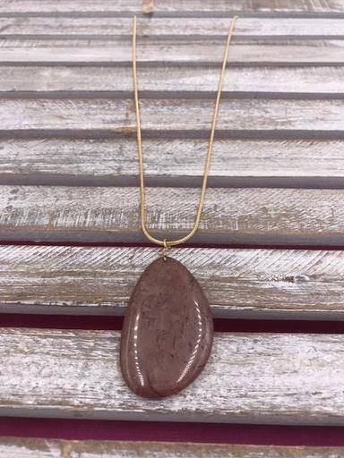 Large Semi- Precious Purple Stone Long Necklace