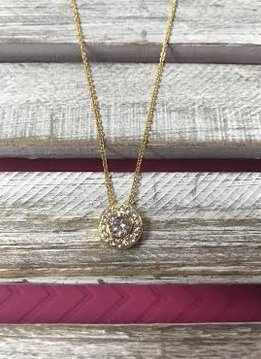Gold Cubic Zirconia Necklace with Round Pendant