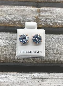 Sterling Silver Rose Gold Plated Cubic Zirconia 8mm Stud Earrings