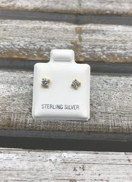 Sterling Silver Yellow Gold Plated Cubic Zirconia Stud 3mm Earrings